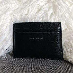 SAINT LAURENT Logo Card Holder Wallet Black
